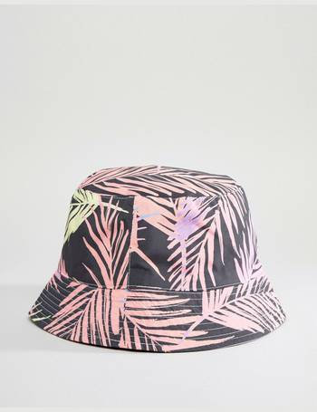 60ca41a6ef7 festival reversible bucket hat in black with bright leaf design from ASOS