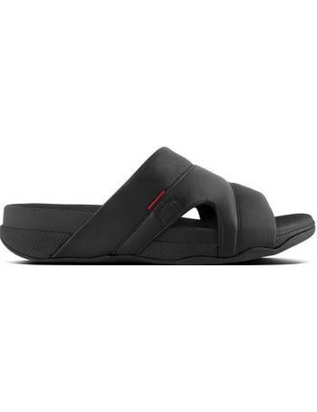 dadde7709 Fitflop. Black Freeway Pool Slide Leather Sandal