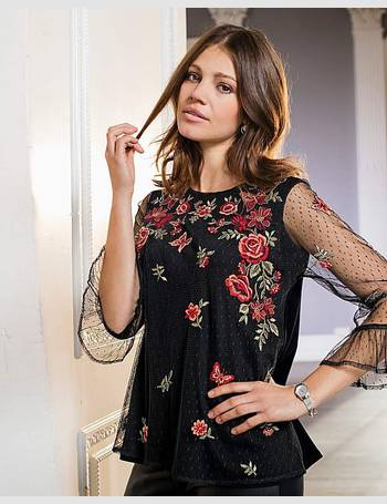 Womens Blackcurrant Mesh Blouse With Lace JD Williams