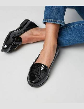 677a8d8e186 Black Patent Tassel and Fringe Front Loafers New Look from New Look