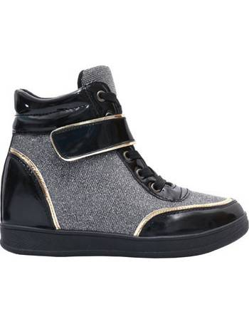 24411fc5268 Fashion Lurex Wedge Trainers  Black  from Spartoo