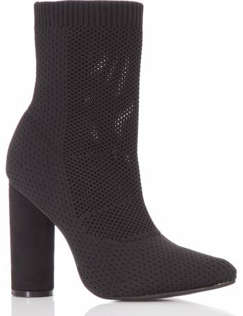 d99829771d53 Black Pointed Block Heel Boots from Quiz Clothing