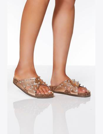 cf52ba07e414 Rose Gold Stud Cross Strap Flat Sandals from Quiz Clothing