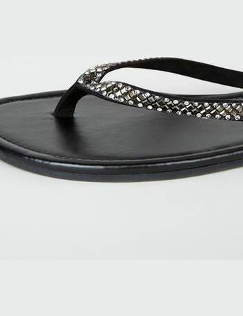0321d8e89340 Wide Fit Black Diamanté Embellished Flip Flops New Look from New Look
