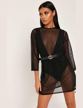 9fd5b9e43bc5 Black Oversized Long Sleeve Mesh T-Shirt Dress from I Saw It First
