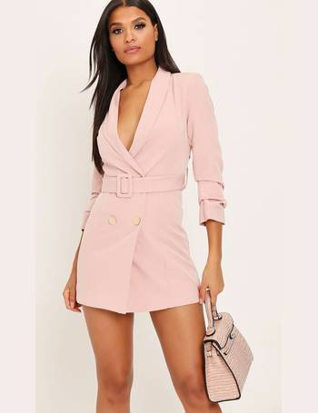 ab13f78a6b37 Pink Double Button Belted Blazer Dress from I Saw It First