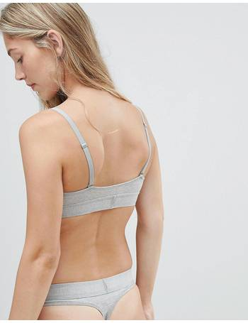 c13a6438f95c Calvin Klein. Monogram unlined triangle bralette grey. from ASOS