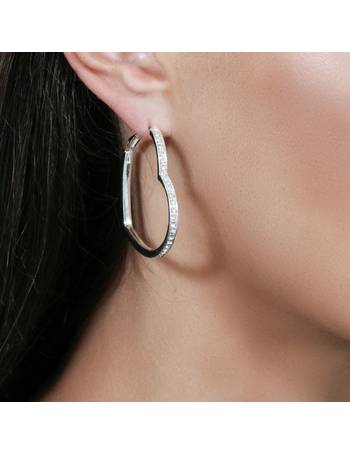 879173a54511f7 Silver Colour Large Crystal Heart Hoop Earrings from Argos
