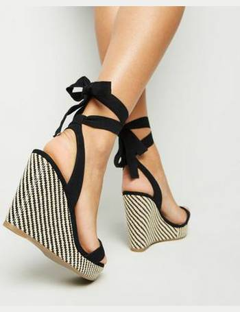 243557f4453 Wide Fit Black Woven Wedge Heel Sandals New Look from New Look