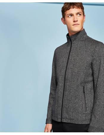 2d6483157 Funnel neck herringbone wool-blend jacket Charcoal from Ted Baker