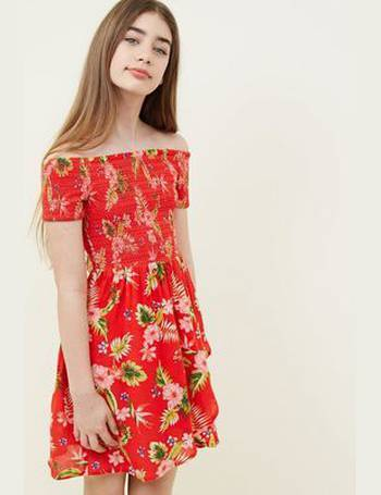 25c8a1997b70 Girls Red Tropical Floral Print Bardot Dress New Look from New Look