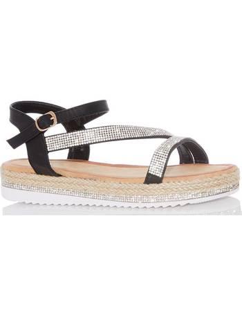 c2152b69fb1d Black Diamante Slant Flat Sandals from Quiz Clothing