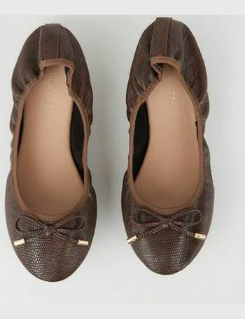 790a6ff9bd Wide Fit Rust Faux Croc Elasticated Ballet Pumps New Look from New Look