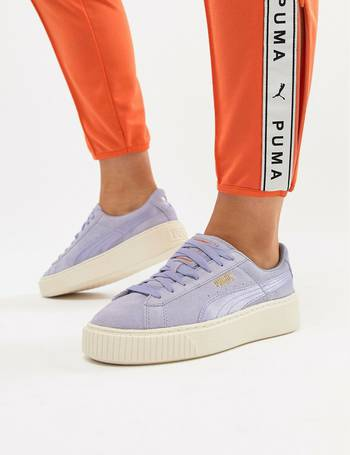 half off 56878 50849 Suede Platform Satin Trainer in lavender