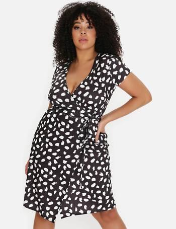 Plus Size Black Smudge Print Wrap Dress