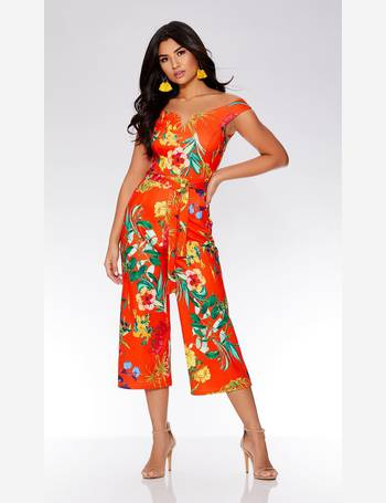 16d448693c Quiz. Orange Floral Bardot Culotte Jumpsuit. from Quiz Clothing. £34.99.  Black And Cream Bardot Frill ...