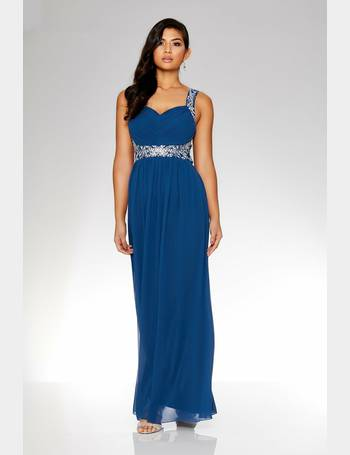 Quiz coral chiffon embellished maxi dress