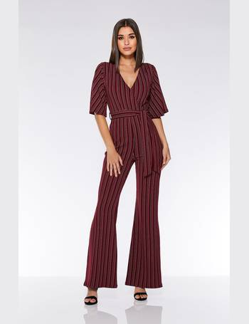 e8603a628bc Berry And Black Stripe Flare Leg Jumpsuit from Quiz Clothing