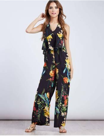 96ca0bb78d OZMA - Black Halterneck Tropical Print Jumpsuit from Blue Vanilla