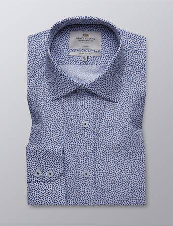 58c3298ef0e1b Hawes   Curtis. Men s Formal White   Navy Floral Print Extra Slim Fit  Stretch Shirt – Single Cuff