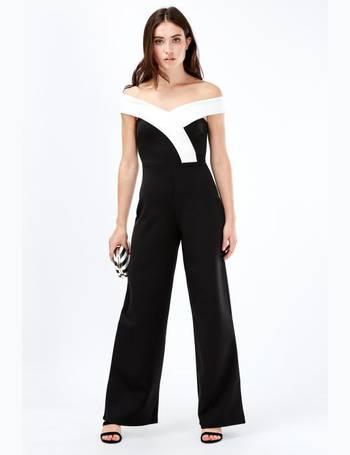 e42b70965c0 Colour Block Wrap Bardot Wide Jumpsuit from Select Fashion