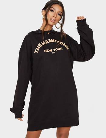 black oversized diamante power slogan hoodie