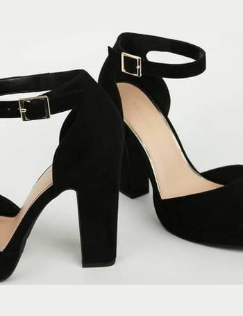 94491525639b Black Suedette Peep Toe Platform Block Heels New Look from New Look