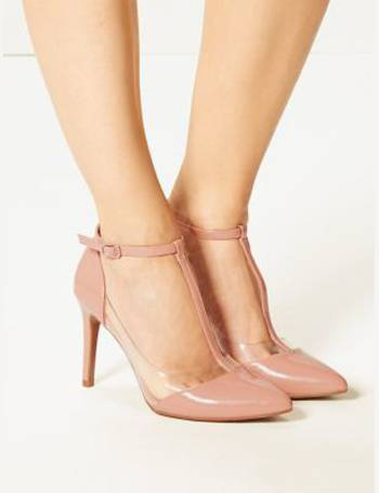837e53d7700 Stiletto Heel Perspex T-Bar Court Shoes