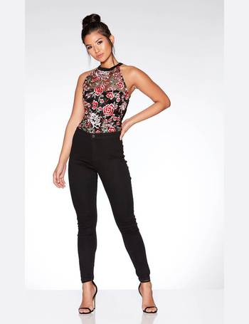 Black and Red Rose Embroidered Mesh Bodysuit from Quiz Clothing 9382995bd