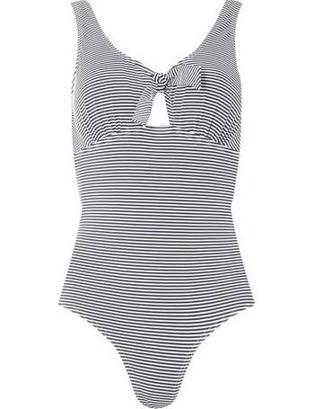 5d8afed26c679 Womens Dp Beach Navy And White Tie Front Swimsuit- Blue from Dorothy Perkins
