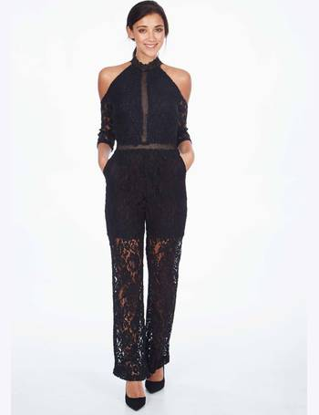 07c5cd7b0f LOUISA - Cold Shoulder Lace Black Jumpsuit from Blue Vanilla