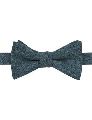 T.M.Lewin Mens Barberis Navy Textured Wool Self Tie Bow Tie ONE