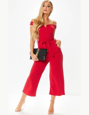 f19babc5a3 Kady Red V Front Bardot Jumpsuit from Miss Pap