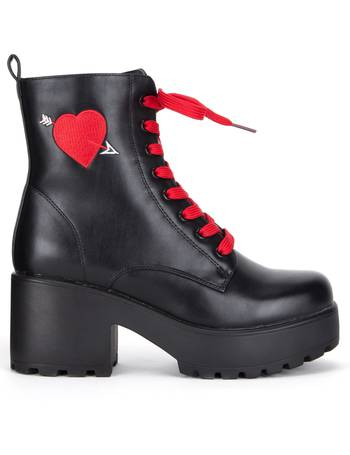 ea5c8b33f82 Heart Embroidered Chunky Platform Biker Boots with Red Laces from KOI  Footwear