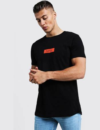 41905f324 Orange MAN Box Logo Longline Curved Hem T-Shirt from boohooMan