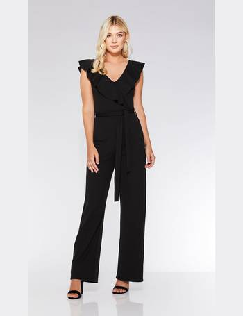 565bdfa9de Black Frill V Neck Palazzo Jumpsuit from Quiz Clothing