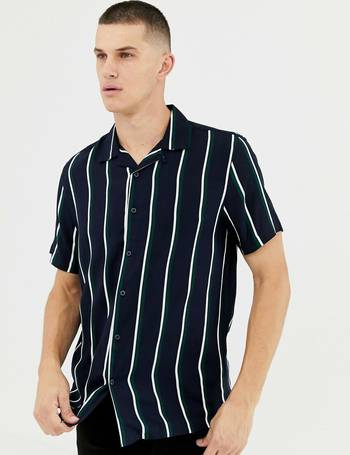 d1820aebe3 regular fit viscose shirt with revere collar in navy stripe from ASOS
