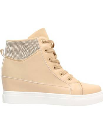 9490eac25b Diamante Cuff Wedge Trainers  Beige  from Spartoo