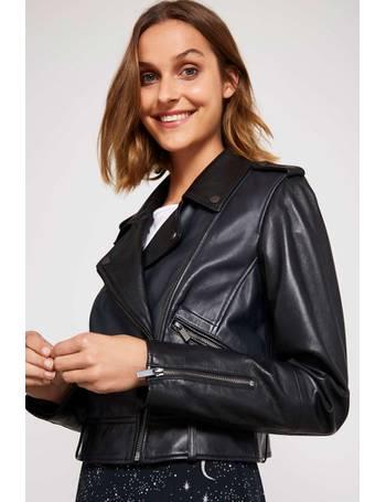 0e692696c Black Leather Blocked Crop Biker Jacket