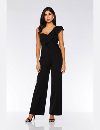 5a4e85dc3c Black Double Frill Palazzo Jumpsuit from Quiz Clothing