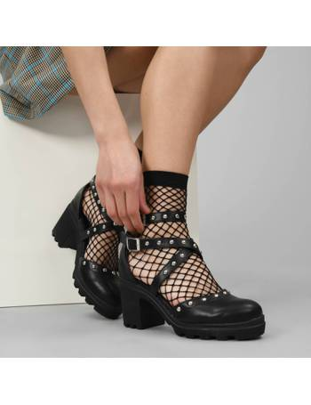93dd68273bb Black Mid Heeled Studded Cross Strap Shoes with Ankle Strap from KOI  Footwear