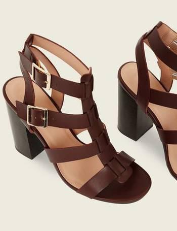 31a0008500b Rust Wooden Block Heel Gladiator Sandals New Look from New Look