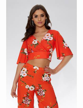 c791c38af Orange And White Floral Crop Top from Quiz Clothing