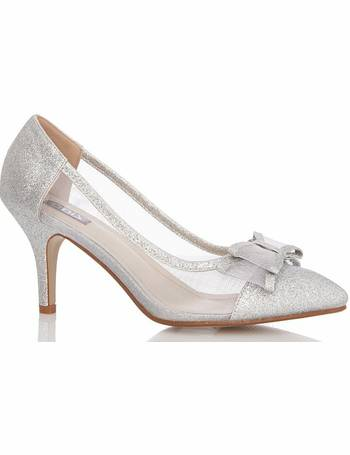 5f7ff2c42cd Silver Bow Mesh Point Low Heel Courts from Quiz Clothing