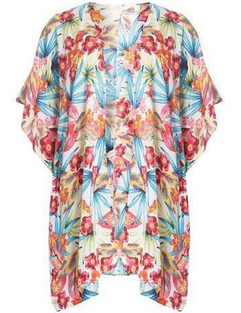 5186591e8 Womens DP Beach Ivory Floral Tropical Print Kimono- White from Dorothy  Perkins