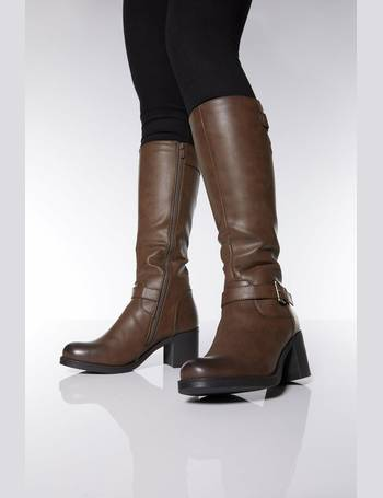 7dbd58705d95 Brown Buckle Knee Boots from Quiz Clothing