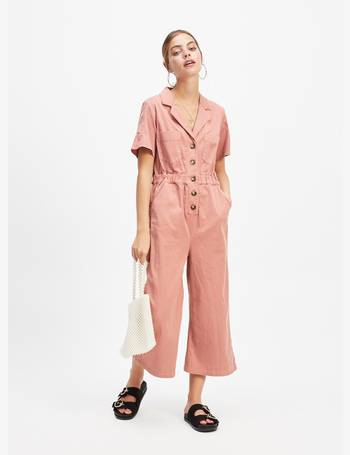 63d393c01c67 Womens Petite Pink Denim Utility Jumpsuit from Miss Selfridge