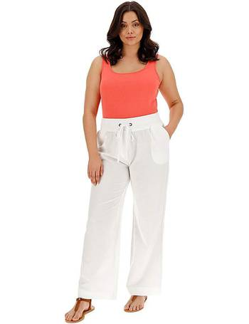 Womens Slouch Linen Mix Wide Trousers Simply Be
