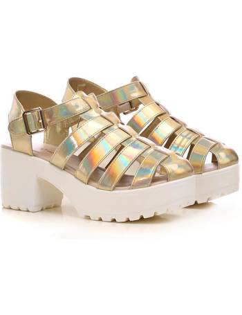 1840ebbb0e7 Gold Holographic Chunky Platform Multi Strap Sandals from KOI Footwear