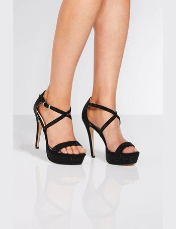 3e7f9cc74a5 Black Diamante Cross Strap Heels from Quiz Clothing